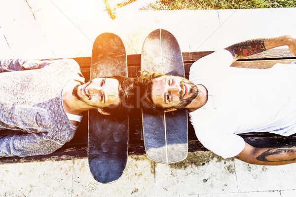 Best skaters friends having fun and smiling together outdoor - Y Stock photo © DisobeyArt