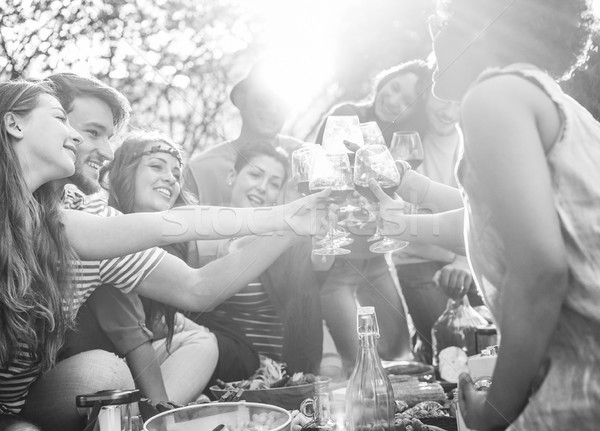 Happy friends cheering with wine glasses at pic-nic lunch outdoo Stock photo © DisobeyArt