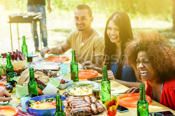 Group of diverse culture people making picnic bbq lunch outdoor  Stock photo © DisobeyArt