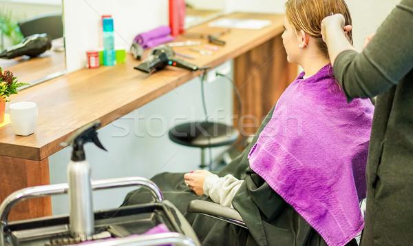 Kuaför müşteri profesyonel saç salon Stok fotoğraf © DisobeyArt