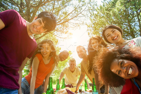 Students friends taking selfie outdoor at bbq meal - Happy youth Stock photo © DisobeyArt