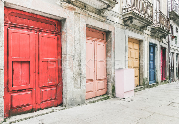 The old town of Porto in Portugal - Street view of colorful door Stock photo © DisobeyArt