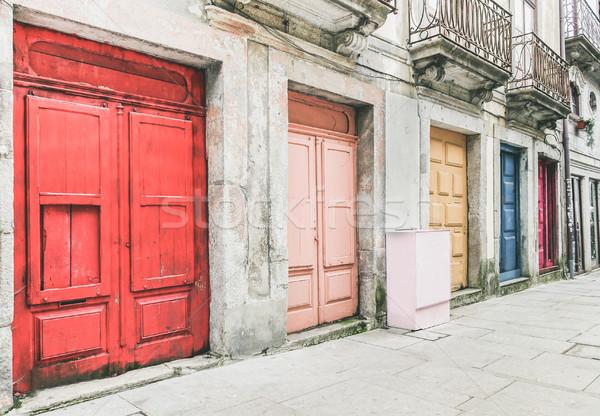 старый город Португалия красочный двери дверей Сток-фото © DisobeyArt