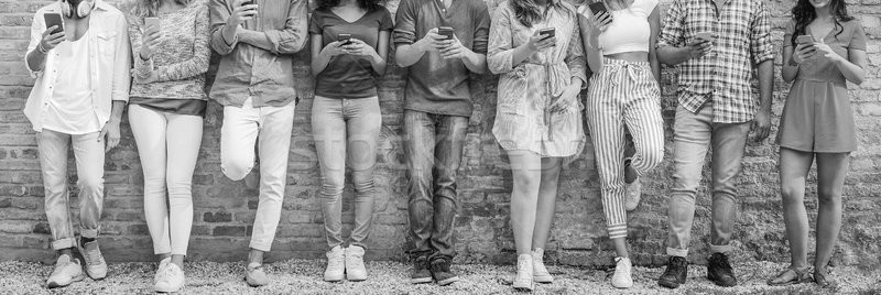 Diverse culture people using mobile smartphone outdoor - Happy f Stock photo © DisobeyArt