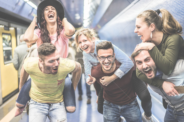 Stock photo: Group of party friends having fun in underground metropolitan st