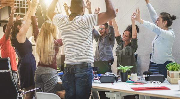 Jonge vieren nieuwe startup project Stockfoto © DisobeyArt