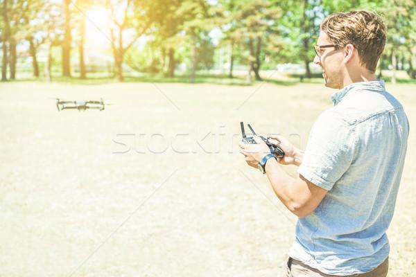 Genç adam uzak sarışın moda Stok fotoğraf © DisobeyArt