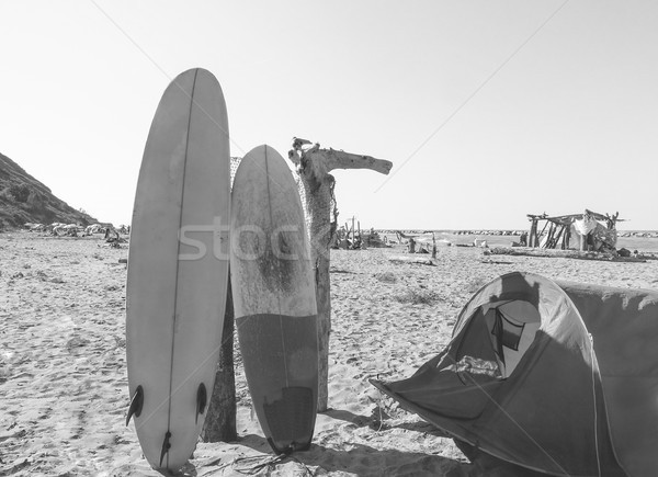 Surfers boards with tent on the beach - Surf boards in tropical  Stock photo © DisobeyArt