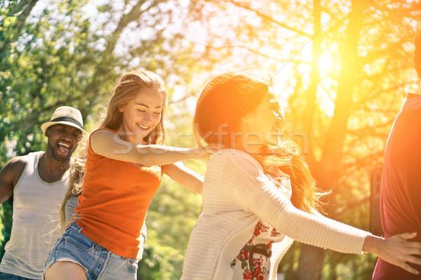 Vrienden dansen tuinfeest zomer tijd vrolijk Stockfoto © DisobeyArt