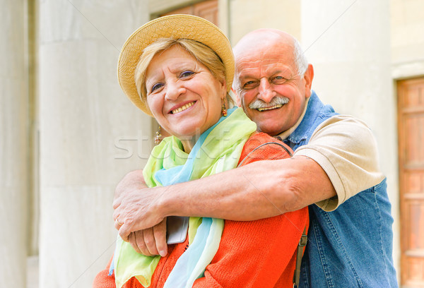 Happy senior couple in love enjoying romantic vacation in Italy  Stock photo © DisobeyArt