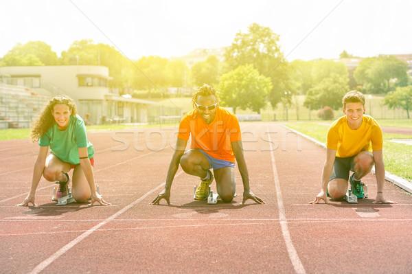 Бегуны начала линия трек спортивный вызов Сток-фото © DisobeyArt