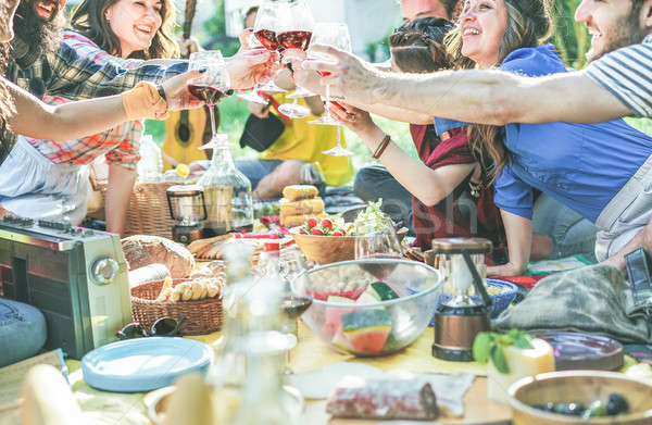Stock fotó: Boldog · barátok · éljenez · borospoharak · piknik · ebéd