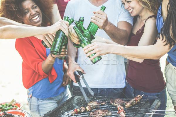 Stockfoto: Groep · gelukkig · cultuur · vrienden · juichen