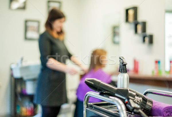 Hairdresser fashion salon view with dryer and water spray with w Stock photo © DisobeyArt