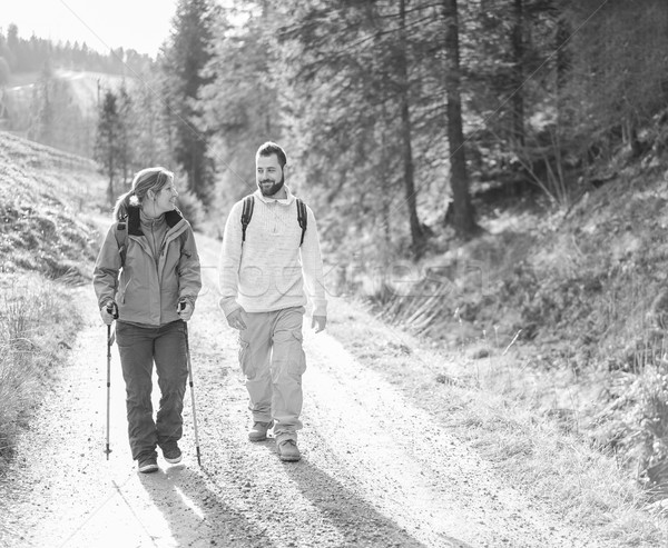 Young couple having doing trekking in switzerland mountains in s Stock photo © DisobeyArt