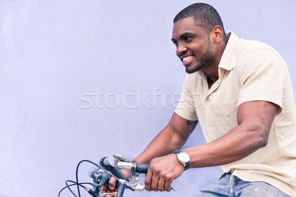 Mutlu adam binicilik eski stil Stok fotoğraf © DisobeyArt