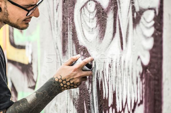 Tetoválás graffiti tél festmény szín spray Stock fotó © DisobeyArt