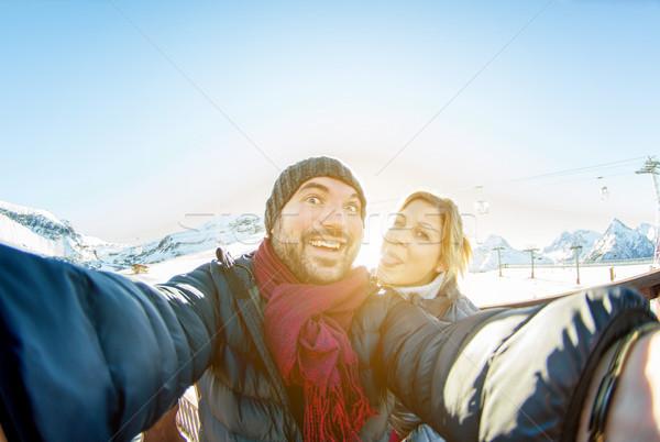 Kar başvurmak dağ cep telefonu Stok fotoğraf © DisobeyArt