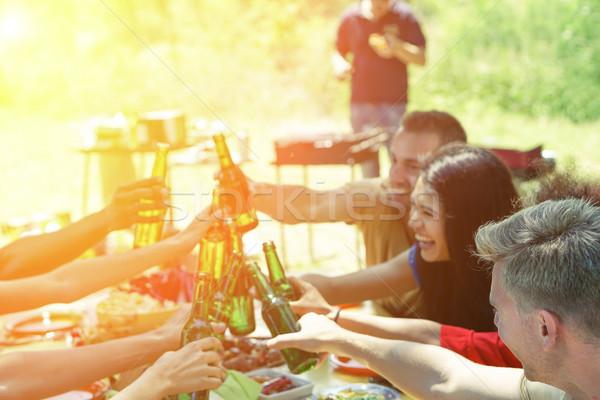 Stockfoto: Groep · studenten · barbecue · jonge · vrolijk