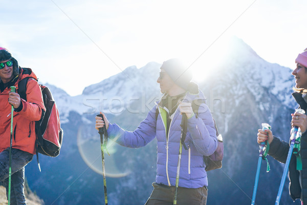 Young people doing trekking excursion in french high mountains - Stock photo © DisobeyArt