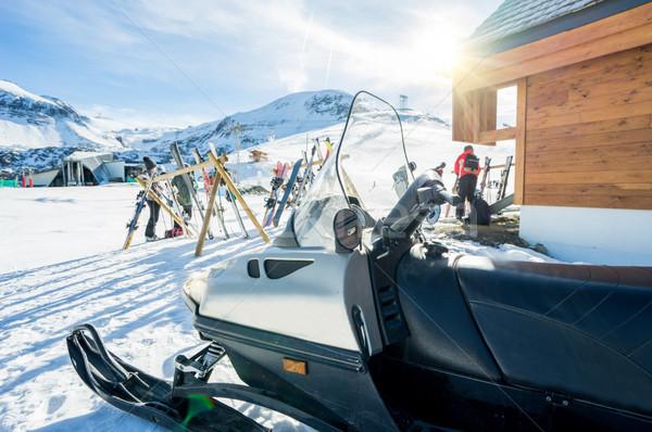 View of winter snow vacation resort - Ski,snowboards and snowmob Stock photo © DisobeyArt