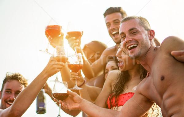 счастливым друзей Моменты Летние каникулы Открытый Сток-фото © DisobeyArt