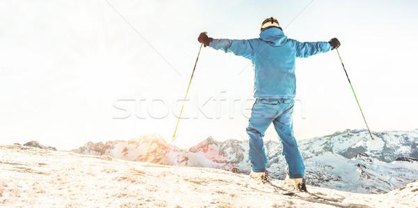 молодые лыжник Top горные открытых оружия Сток-фото © DisobeyArt