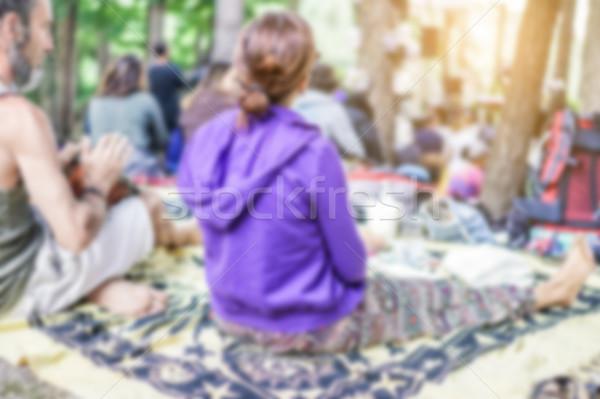 Bulanık insanlar izlerken konser yaşamak ahşap Stok fotoğraf © DisobeyArt