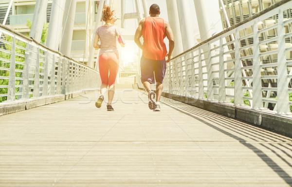 два молодые бег городского Сток-фото © DisobeyArt