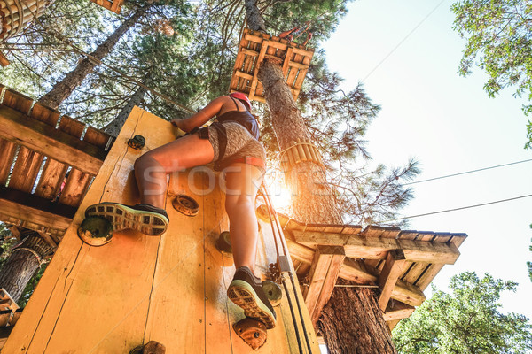 Young woman climbing wood wall at adventure park in summer vacat Stock photo © DisobeyArt