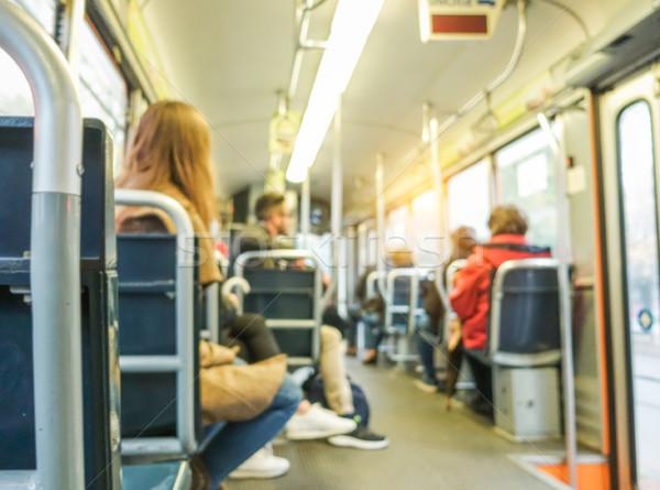 Elmosódott emberek bent busz város villamos Stock fotó © DisobeyArt