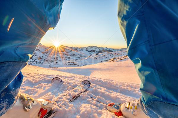 Sci atleta piedi meraviglioso tramonto top Foto d'archivio © DisobeyArt