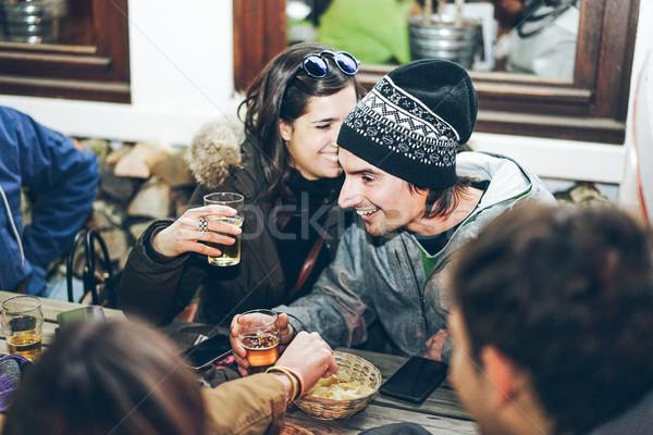 счастливым богатых друзей Паб ресторан Сток-фото © DisobeyArt