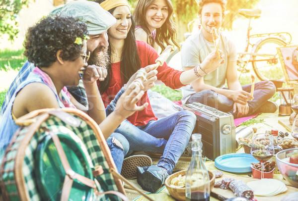 Mutlu arkadaşlar yeme içme piknik akşam yemeği Stok fotoğraf © DisobeyArt