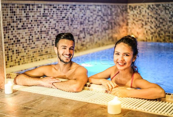 Aşıklar spa yüzme havuzu romantik Stok fotoğraf © DisobeyArt