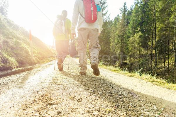 Twee vrienden wandelen Zwitserland zonsopgang jongeren Stockfoto © DisobeyArt