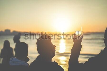 Stockfoto: Silhouet · schieten · samen · mooie · zonsondergang