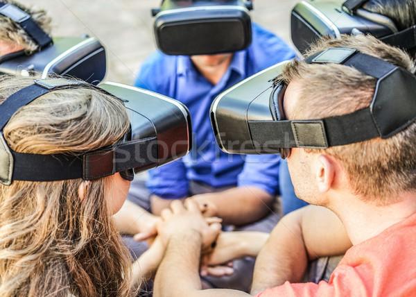 小さな 友達 着用 バーチャル 現実 眼鏡 ストックフォト © DisobeyArt