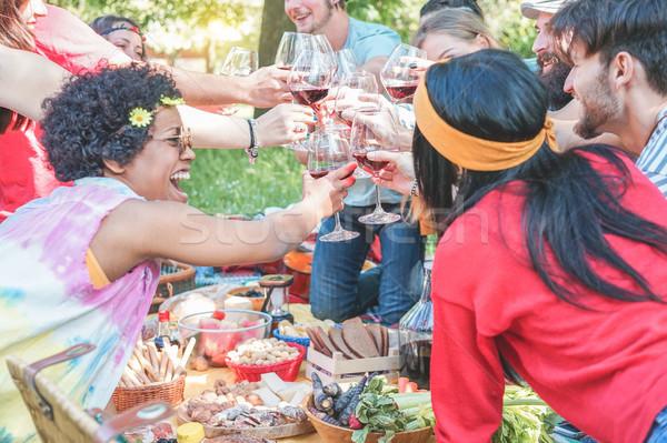 Boldog többnemzetiségű emberek éljenez borospoharak piknik Stock fotó © DisobeyArt