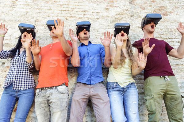 小さな 学生 着用 バーチャル 現実 眼鏡 ストックフォト © DisobeyArt