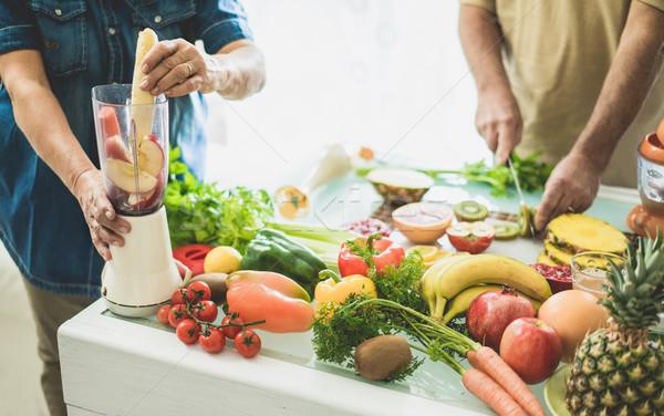 Stockfoto: Veganistisch · smoothie · bio · vruchten · oude · mensen
