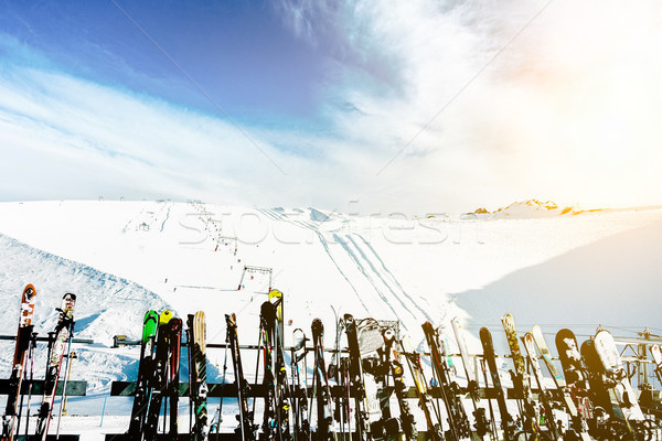 Skies and snowboards in Deux Alps chalet mountain resort with sk Stock photo © DisobeyArt