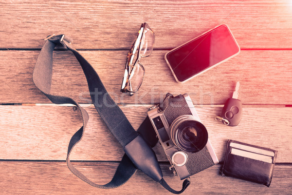 Outfit of traveler, photographer, student, teenager, young man - Stock photo © DisobeyArt