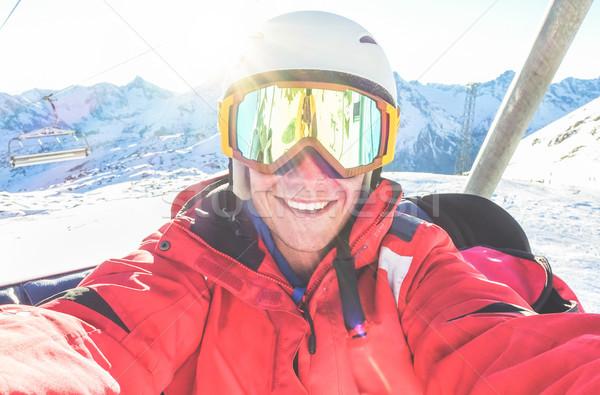 幸せ スキーヤー 写真 スマート 携帯電話 ストックフォト © DisobeyArt