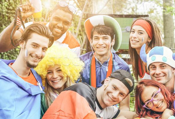 Stock fotó: Boldog · sport · szurkolók · szórakozás · futball · játék