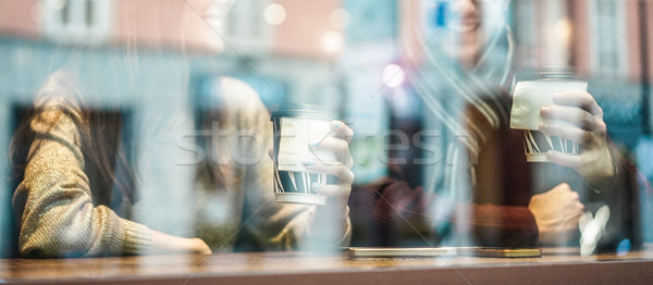 Happy friends drinking coffee in street city bar - Young workers Stock photo © DisobeyArt