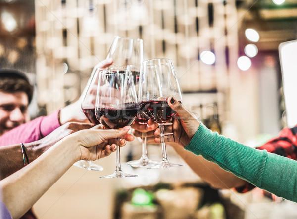 グループ 文化 友達 赤ワイン ストックフォト © DisobeyArt