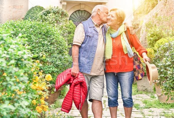 Boldog játékos idős pár szeretet élvezi romantikus Stock fotó © DisobeyArt