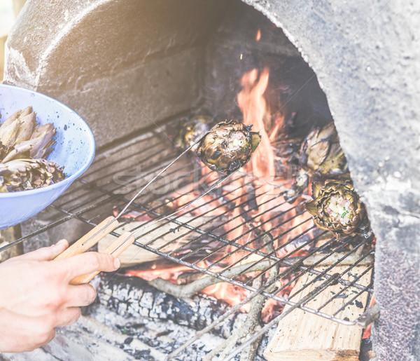 若い男 料理 詰まった バーベキュー ディナー シェフ ストックフォト © DisobeyArt