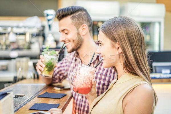 молодые пару коктейли Майами Сток-фото © DisobeyArt